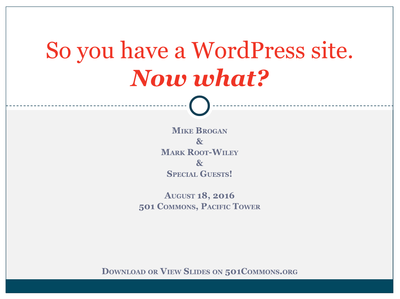 So you have a WordPress website. Now what?
